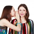 Two happy young girlfriends make gossip — 图库照片
