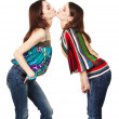 Stock Photo: Two young attractive girls kissing