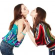 Two young attractive girls kissing — Stock Photo