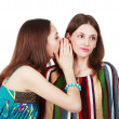Two happy young girlfriends make gossip — Stock Photo #12371931