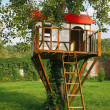 Stock Photo: Cute small tree house for kids on backyard.