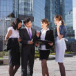 Group of business meeting outdoor in front of office building — Stock Photo #13587211