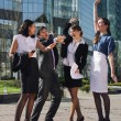 Group of business meeting outdoor in front of office building — Stock Photo