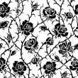 Black and white roses bush seamless illustration — Stock Photo