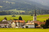 Beautiful view of a valley and church, Switzerland — Stock Photo