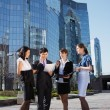Group of business meeting outdoor — Stock Photo