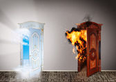 Two doors to heaven and hell. Choice concept. — Stock Photo