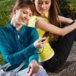 Stock Photo: The beautiful girl with girlfriend and talking with cellphone