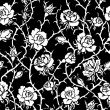 Black and white roses seamless pattern.  — Stock Photo