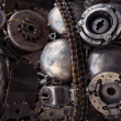 Metal Gears, car, auto, moto. Handicraft metal artwork from used — Stock Photo