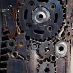 Metal Gears, car, auto, moto. Handicraft metal artwork from used — Stock Photo #29988255