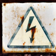 Warning sign for high voltage — Stock Photo