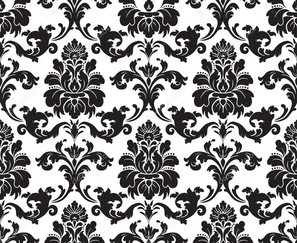 Vector. Seamless damask pattern. Fabric swatch. Black and ...