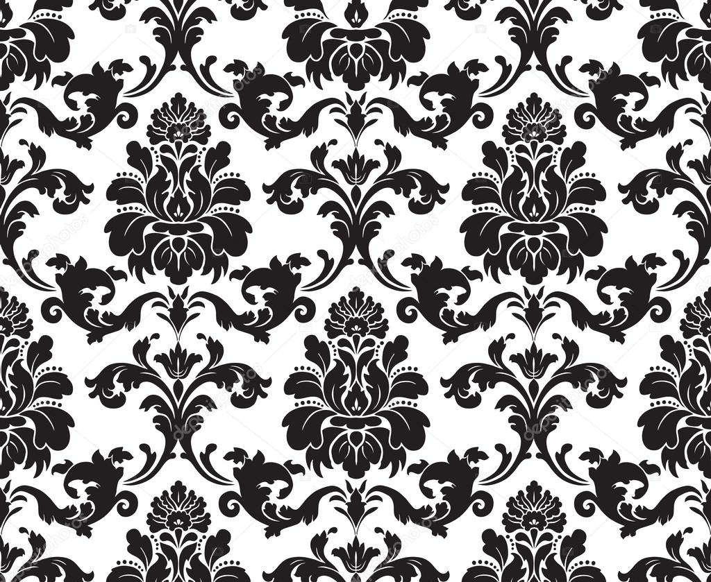 Vector seamless damask pattern fabric swatch black and white