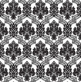 Vector. Seamless damask pattern. Fabric swatch. Black and white. — Stok Vektör