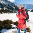 Young woman take a walk on winter mountain slope (Big Almaty Lak — Stock Photo #41465165
