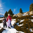 Family (mother with two children) take a walk on winter mountain — Stock Photo
