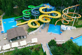 Panorama aquapark sliders, aqua park, water park, top view — Stock Photo