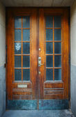 Aging door with ghost face over window. Stockholm, Sweden. — Stock fotografie