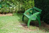 Wooden green original chair in garden — Foto de Stock