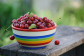 Fresh cherries in color plate on wooden table in the garden — Foto Stock