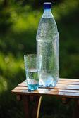 Bicchiere d'acqua e la bottiglia con acqua minerale su sfondo di natura — Foto Stock
