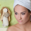 Young beautiful woman resting after spa procedures — Stock Photo #20952953