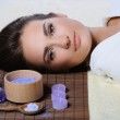 Young beautiful woman resting after spa procedures — Stock Photo #20988797