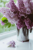 Violet lilac flowers bunch in vase on the window — Zdjęcie stockowe