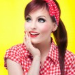 Cheerful pin up girl — Stock Photo