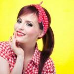Cheerful pin up girl — Stock Photo