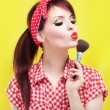 Cute pin up girl - Stock Photo