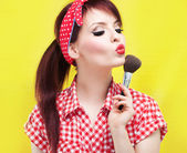 Cute pin up girl — Stok fotoğraf
