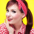Stock Photo: Cheerful pin up girl - retro style portrait
