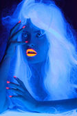 Fairy tale portrait in uv light — Stok fotoğraf