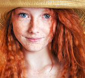 Cheerful freckled girl — Stok fotoğraf