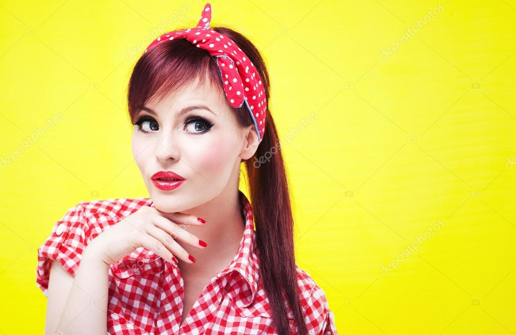 Cheerful pin up girl - retro style portrait — Stock Photo #13407771