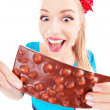 Funny excited girl with a chocolate isolated on white — Stock Photo