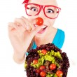 Cheerful funny girl playing with salad - Stock fotografie