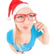 Funny girl with finger up — Stock Photo
