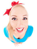 Cheerful funny girl isolated on white, fish eye lens shot — Stock Photo