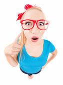 搞笑女孩用手指向上 — 图库照片