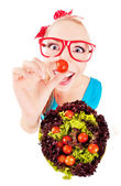 Cheerful funny girl playing with salad — Stock Photo