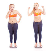 Before and after a diet, girl on a bathroom scale — Stock Photo