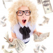 Young woman with dollars in her hands - Foto Stock
