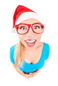Photo of a funny Santa girl — Stock Photo