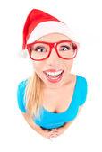一个有趣的圣诞老人女孩的照片 — 图库照片