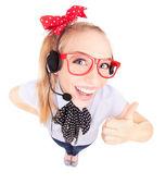 Concepto de gracioso llamada centro - mujer con auriculares — Foto de Stock