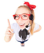 Funny call center concept - woman with headset — Stock Photo