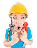 Funny engineer girl — Stock Photo